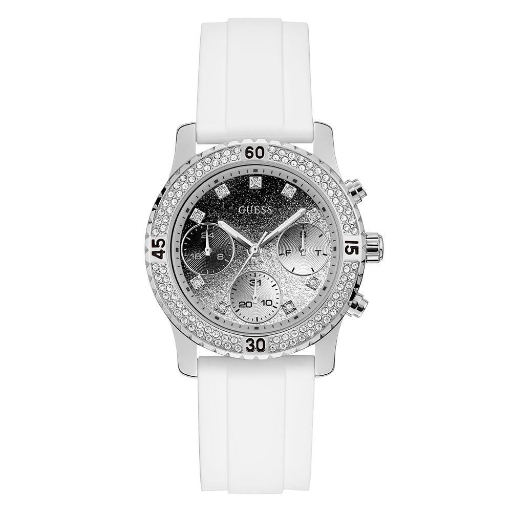 Relógio Feminino Guess Pulseira de Esportivo Branco Fundo Preto 92595L0GSNU8