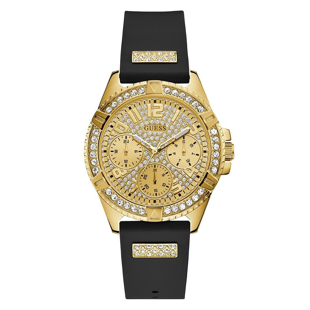 Relógio Feminino Guess Pulseira de Esportivo Preto Fundo Champanhe 92710LPGSDU4