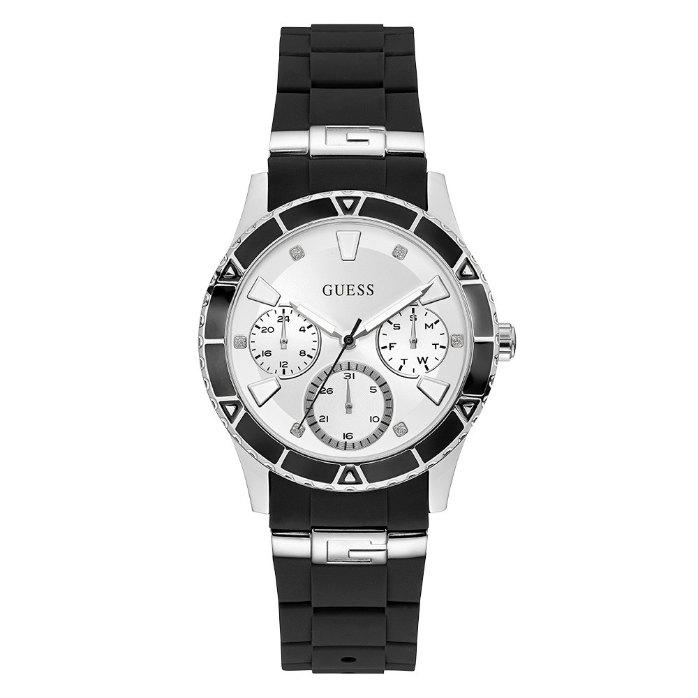 Relógio Feminino Guess Pulseira de Esportivo Preto Fundo Branco 92719L0GSNU1