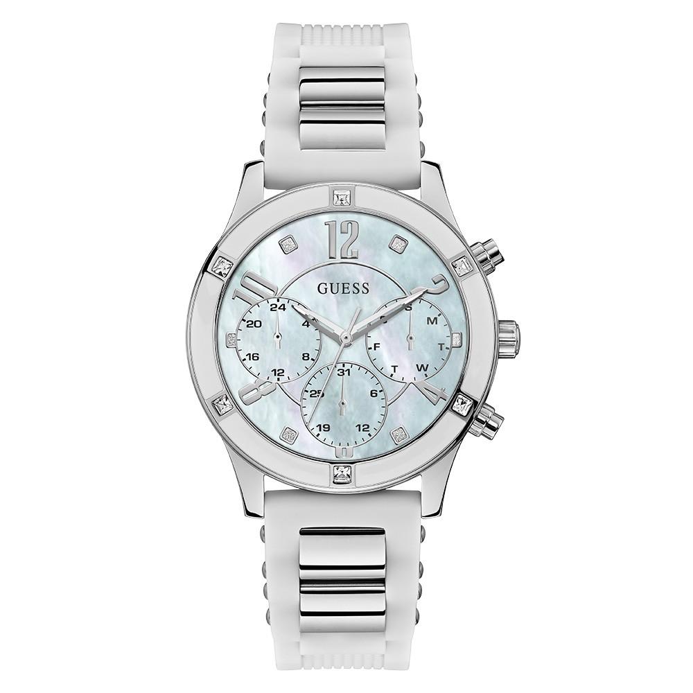 Relógio Feminino Guess Watches Pulseira de Esportivo Branco Fundo Madrepérola