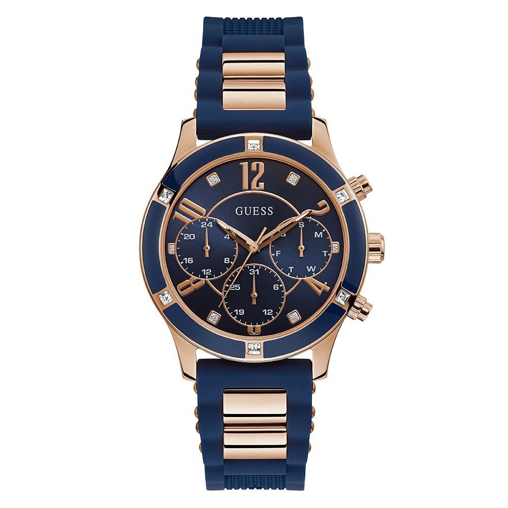 Relógio Feminino Guess Watches Pulseira de Esportivo Azul Fundo Madrepérola