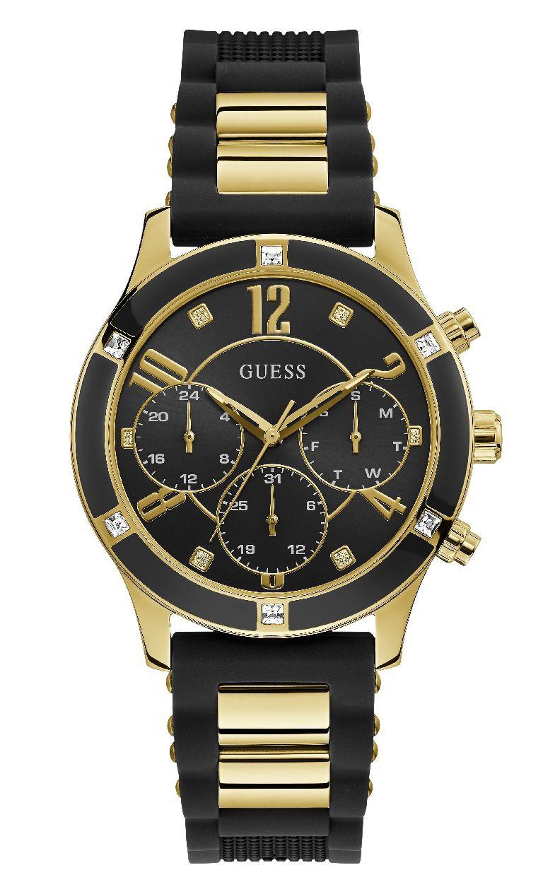 Relógio Feminino Guess Pulseira de Esportivo Preto Fundo Preto GW0039L1
