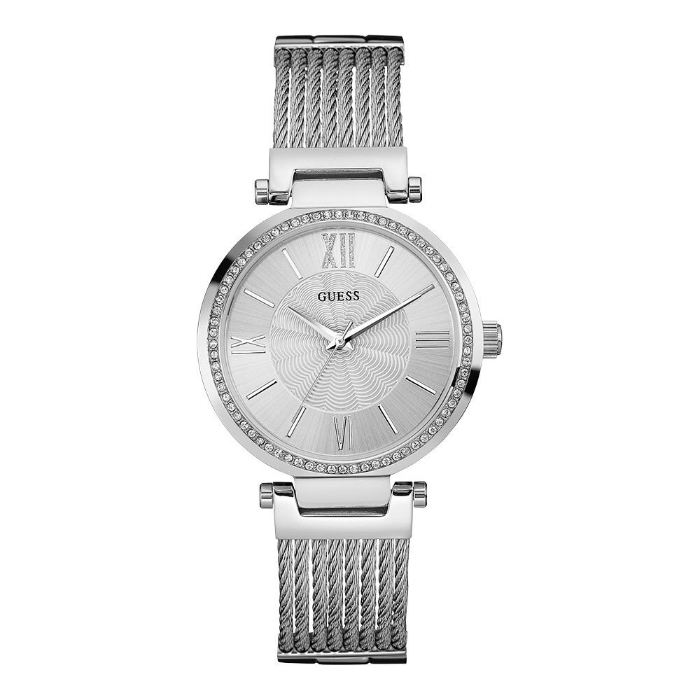 Relógio Feminino Guess Pulseira de Aço Prata Fundo Prata 92580L0GDNA1
