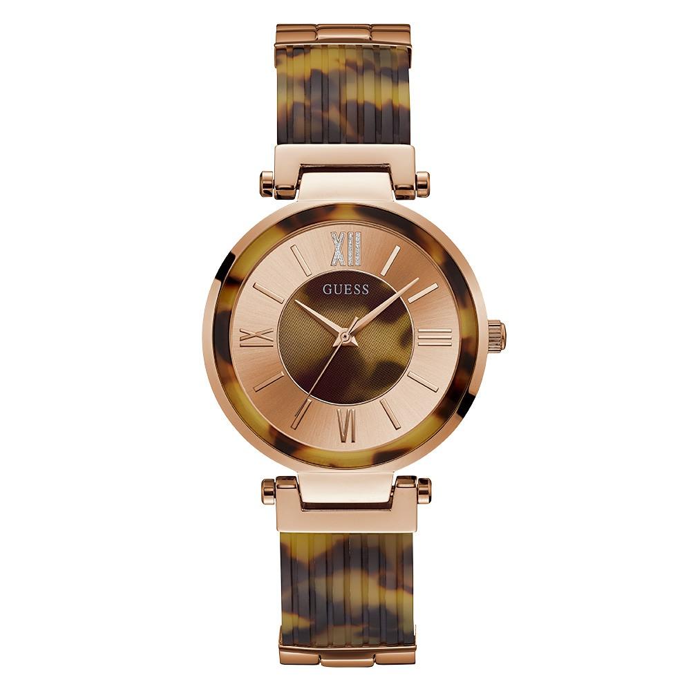 Relógio Feminino Guess Watches Pulseira de Esportivo Tartaruga Fundo Rose Gold