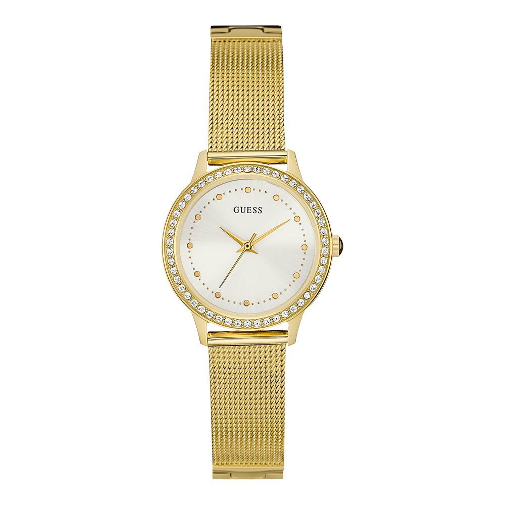 Relógio Feminino Guess Pulseira de Aço Dourado Fundo Champanhe 92582LPGDDA6