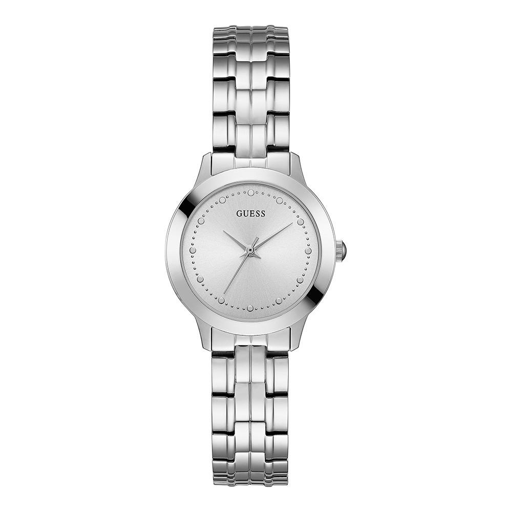Relógio Feminino Guess Pulseira de Aço Prata Fundo Prata 92650L0GDNA1