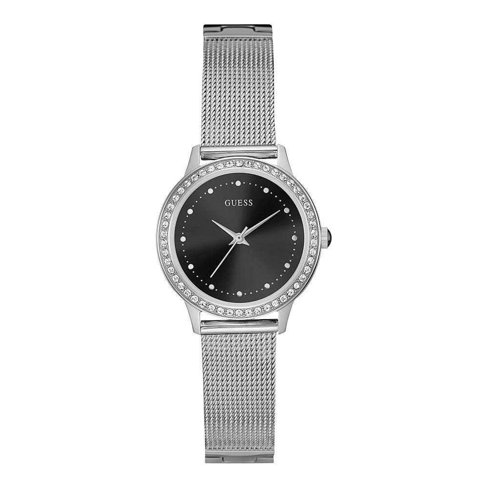Relógio Feminino Guess Watches Pulseira de Aço Prata Fundo Preto