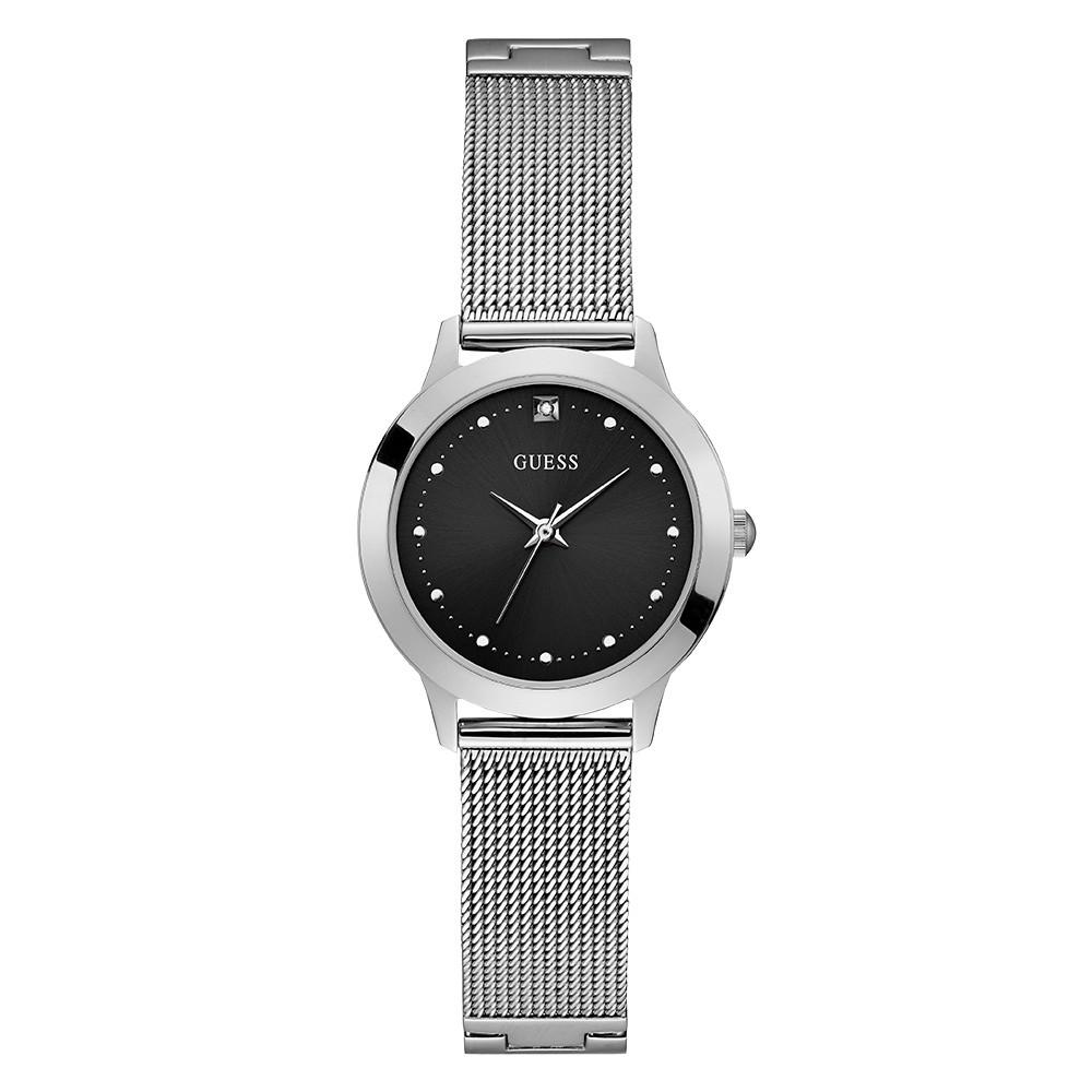 Relógio Feminino Guess Pulseira de Aço Prata Fundo Preto 92650L0GDNA7