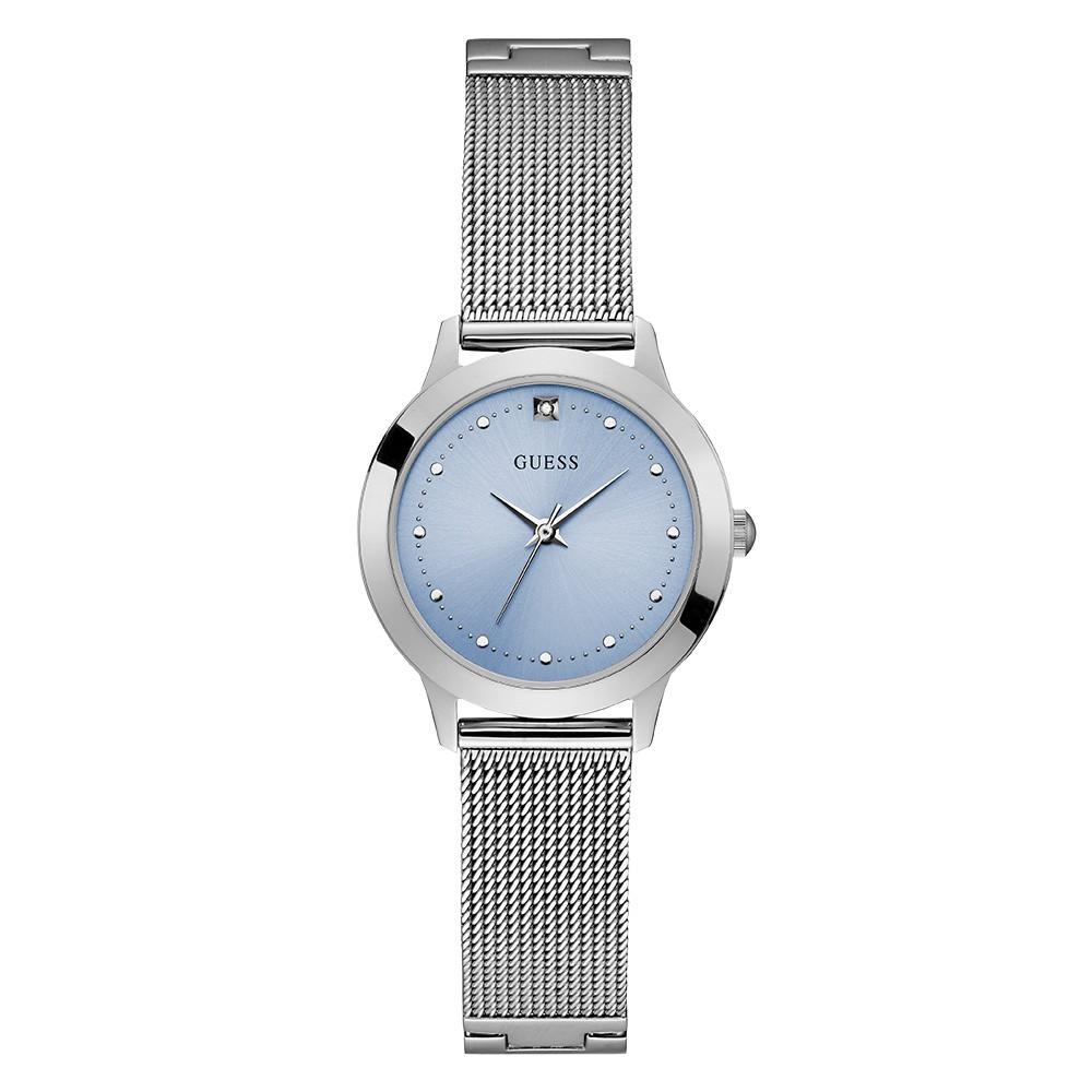 Relógio Feminino Guess Pulseira de Aço Prata Fundo Azul 92650L0GDNA8