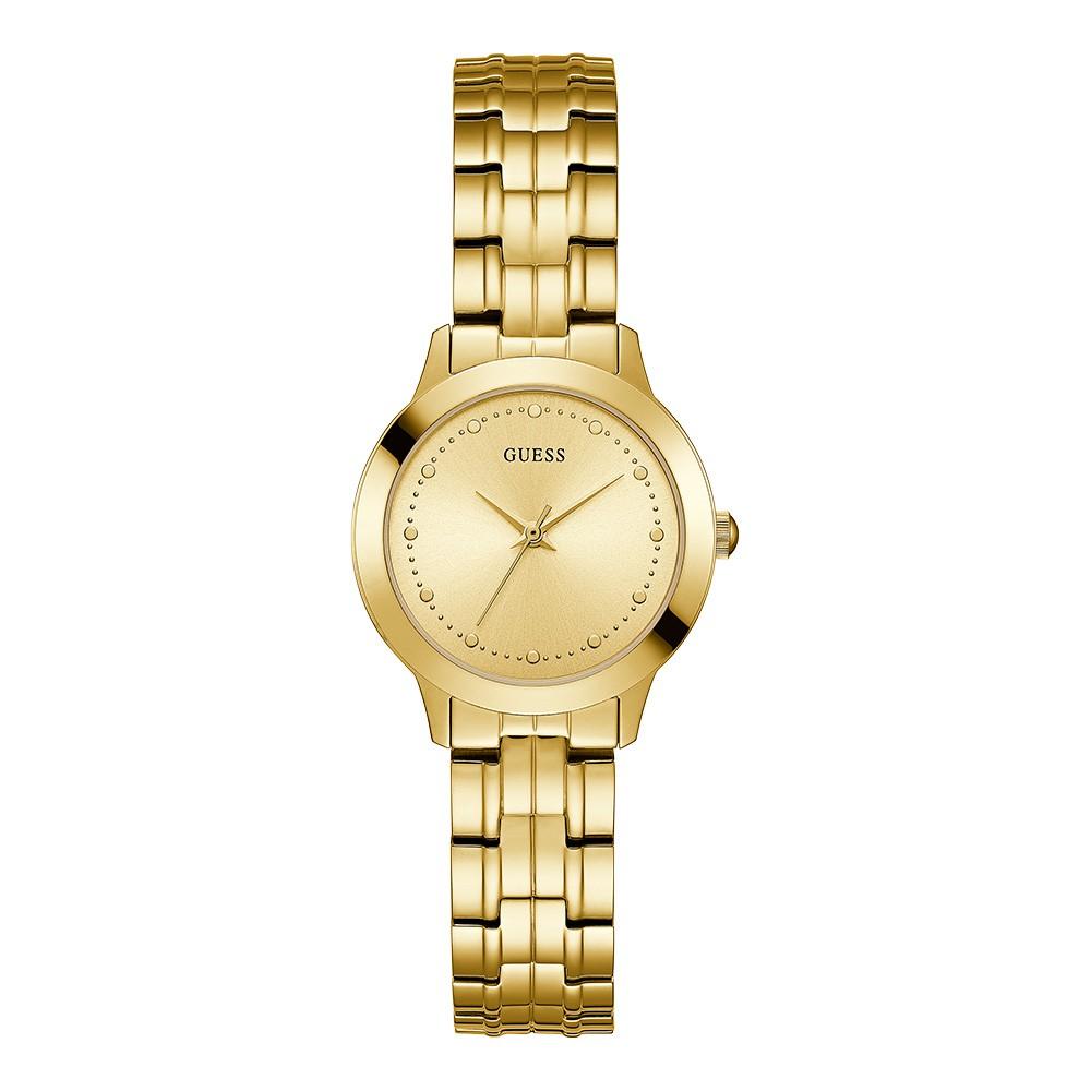 Relógio Feminino Guess Pulseira de Aço Dourado Fundo Champanhe 92650LPGDDA2