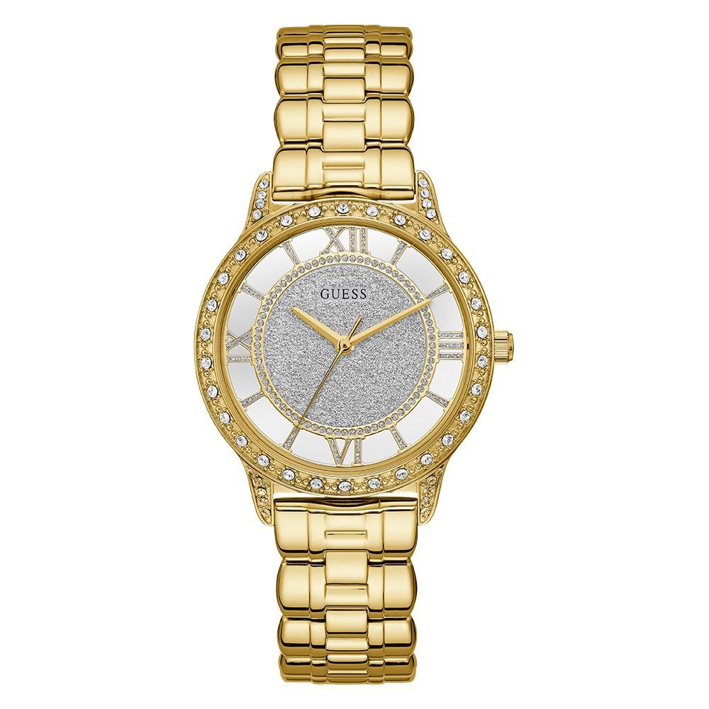Relógio Feminino Guess Watches Pulseira de Aço Dourado Fundo Prata