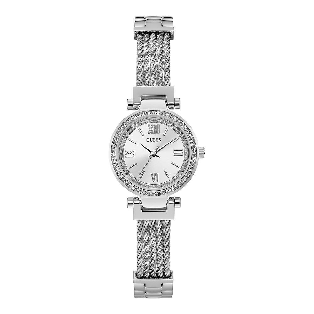 Relógio Feminino Guess Pulseira de Aço Prata Fundo Prata 92665L0GDNA1