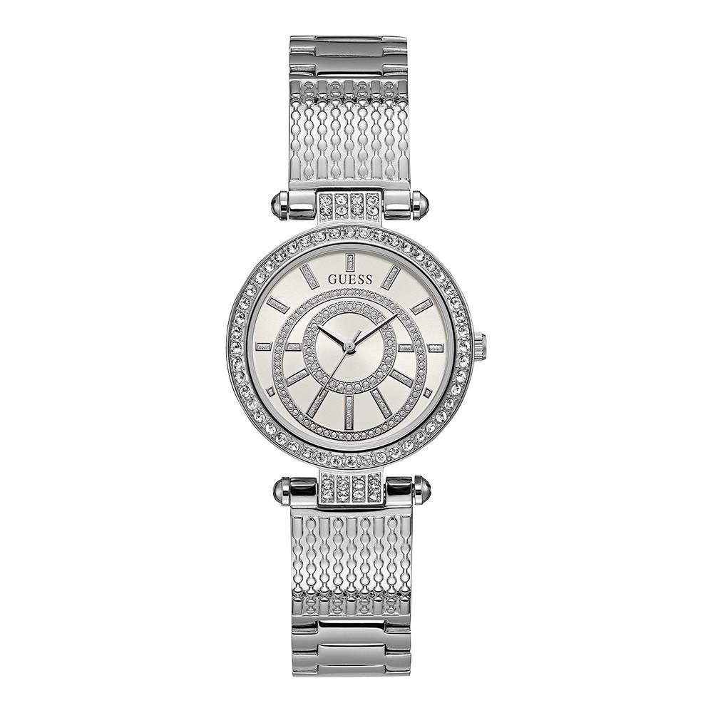 Relógio Feminino Guess Pulseira de Aço Prata Fundo Branco 92666L0GDNA1