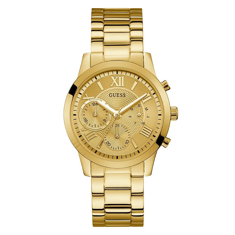 Relógio Feminino Guess Watches Pulseira de Aço Dourado Fundo Champanhe