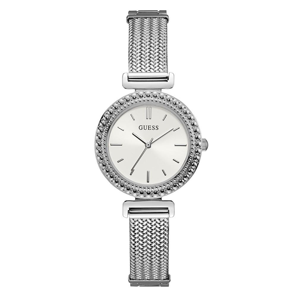 Relógio Feminino Guess Pulseira de Aço Prata Fundo Branco 92716L0GDNA1