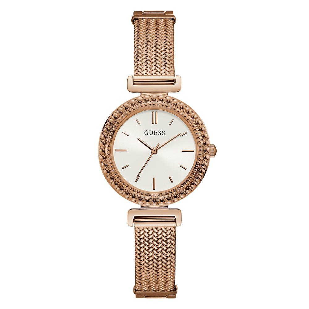 Relógio Feminino Guess Pulseira de Aço Rose Gold Fundo Branco 92716LPGDRA2