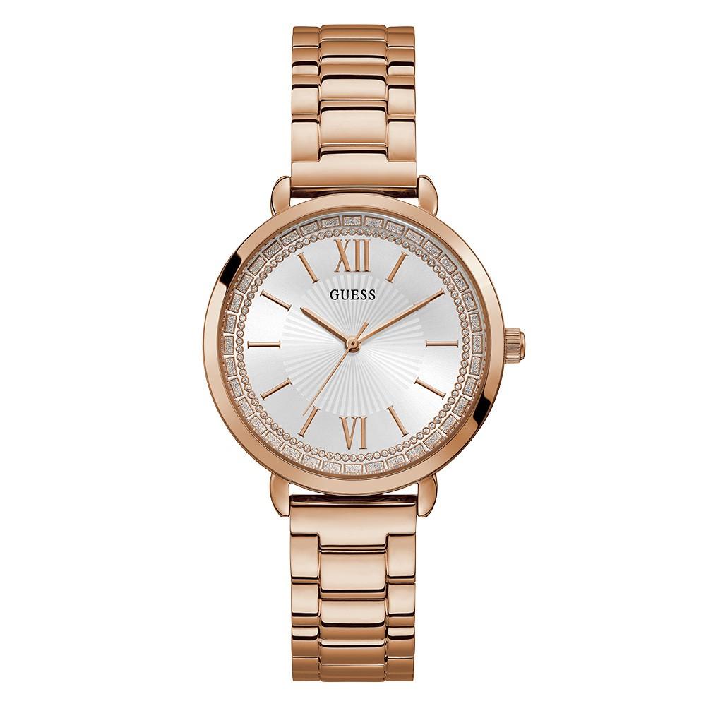 Relógio Feminino Guess Pulseira de Aço Rose Gold Fundo Prata 92739LPGDRA3