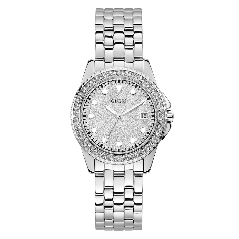 Relógio Feminino Guess Pulseira de Aço Prata Fundo Prata 92745L0GDNA1