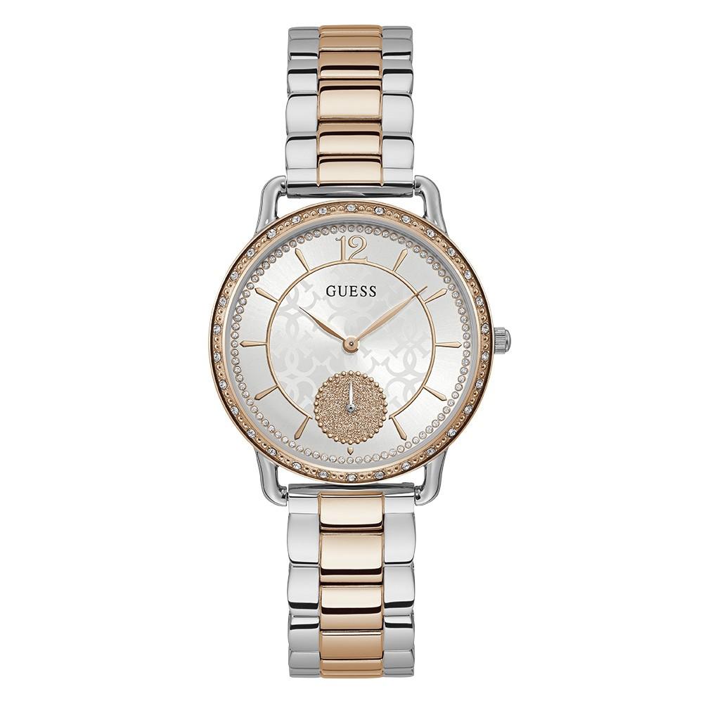 Relógio Feminino Guess Pulseira de Aço Prata & Rose Gold Fundo Branco 92755LPGDGA1