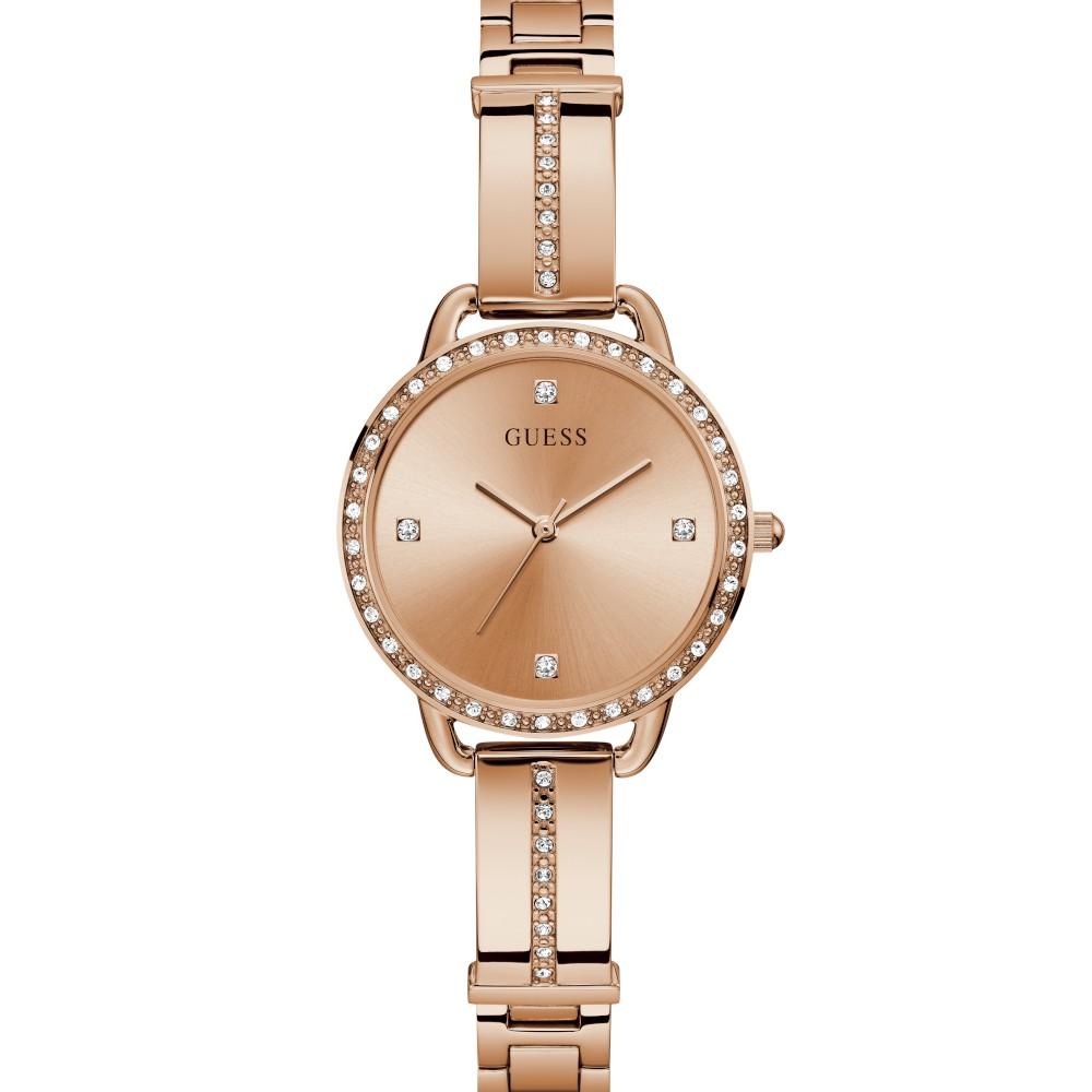 Relógio Feminino Guess Watches Pulseira de Aço Rose Gold Fundo Rose Gold