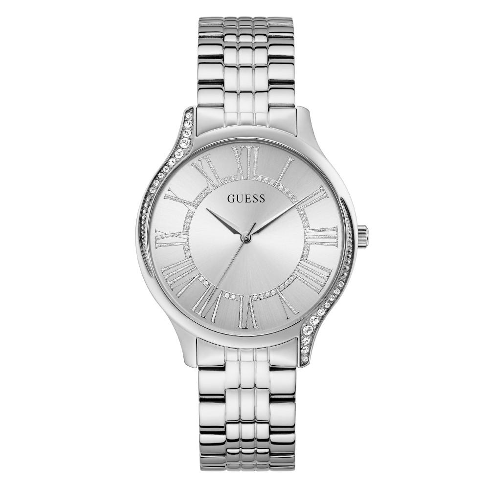 Relógio Feminino Guess Pulseira de Aço Prata Fundo Prata GW0024L1