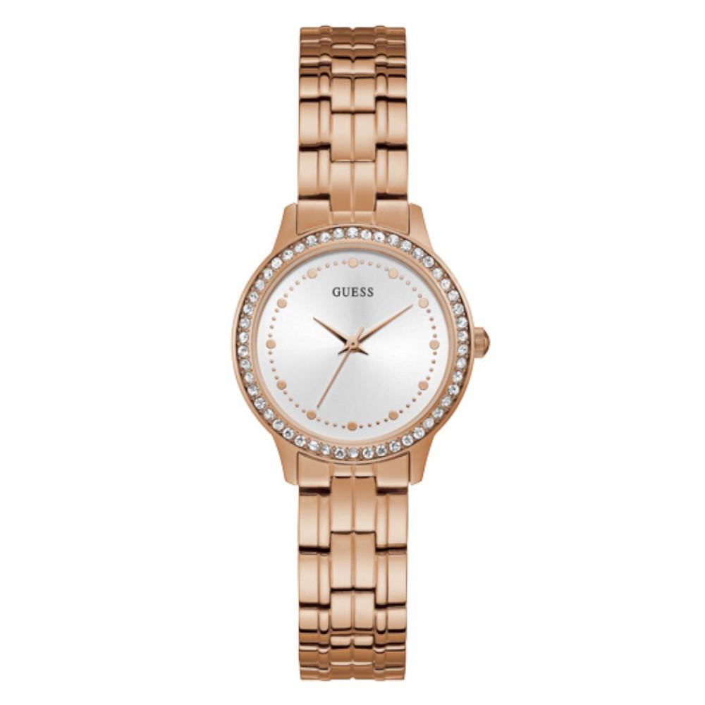 Relógio Feminino Guess Pulseira de Aço Rose Gold Fundo Prata W1209L3