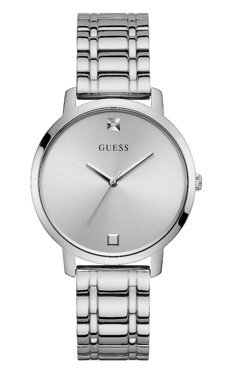 Relógio Feminino Guess Pulseira de Aço Prata Fundo Prata W1313L1