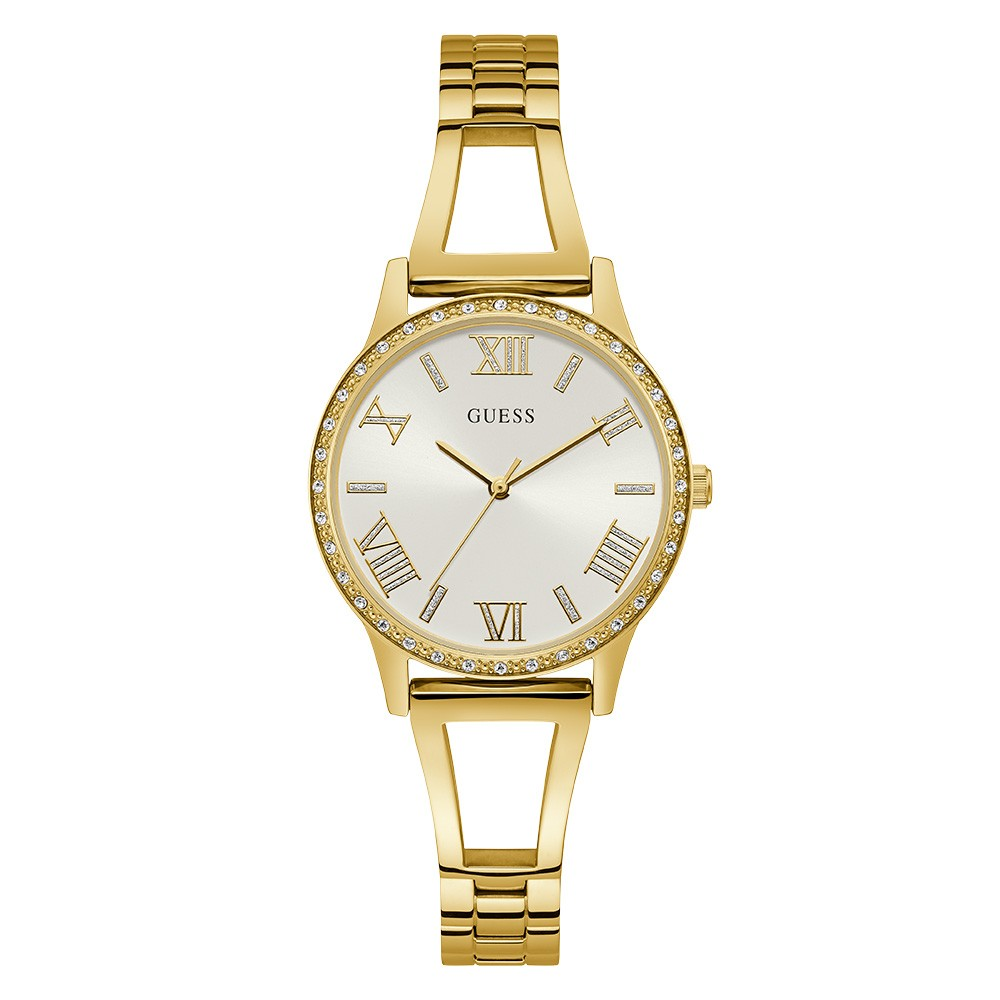 Relógio Feminino Guess Pulseira de Aço Dourado Fundo Branco 92742LPGLDA1