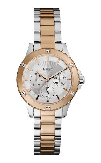 Relógio Feminino Guess Watches Pulseira de Aço Rose Gold Fundo Prata