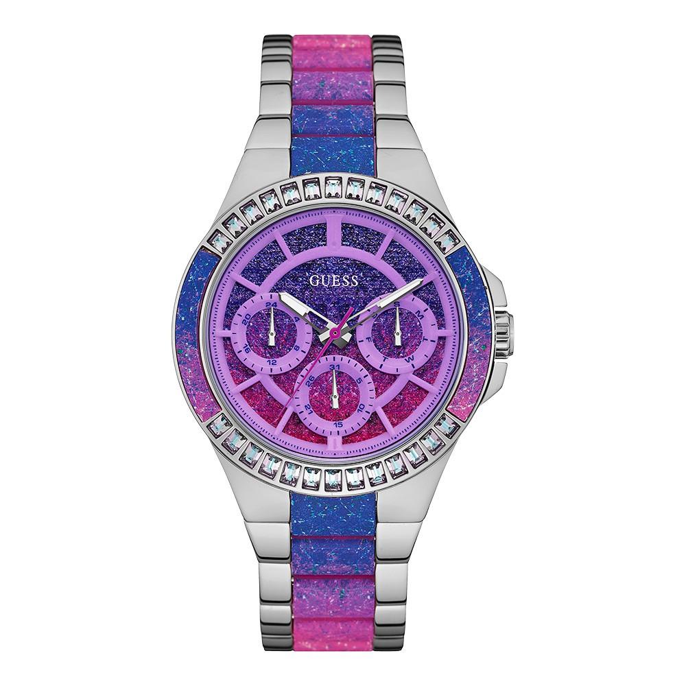 Relógio Feminino Guess Pulseira de Aço Prata Fundo Rosa 92639L0GSNO1