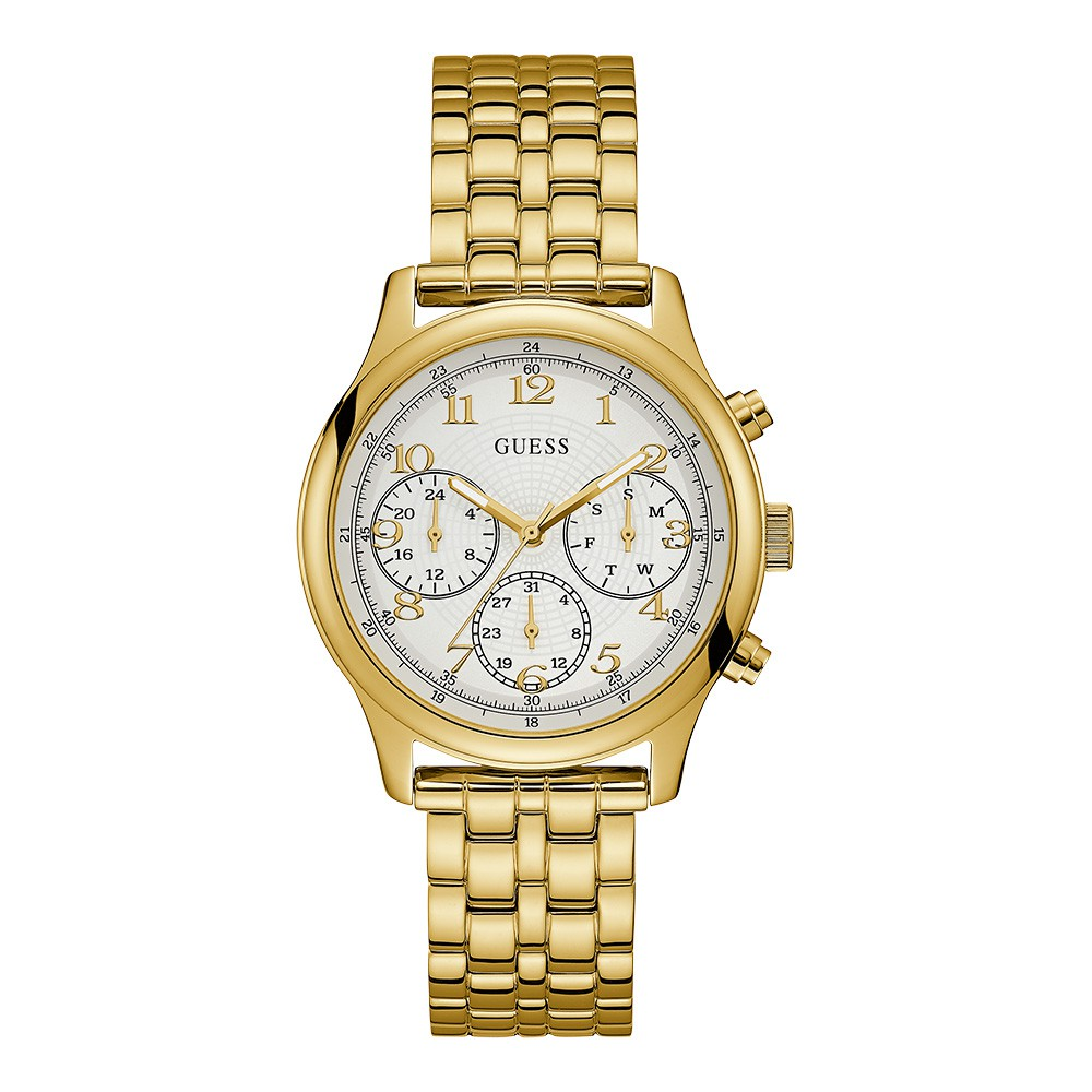 Relógio Feminino Guess Watches Pulseira de Aço Dourado Fundo Branco