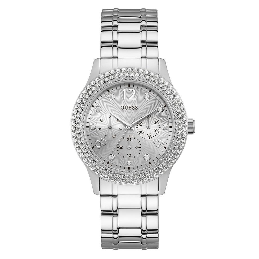 Relógio Feminino Guess Pulseira de Aço Prata Fundo Prata 92690L0GSNA1