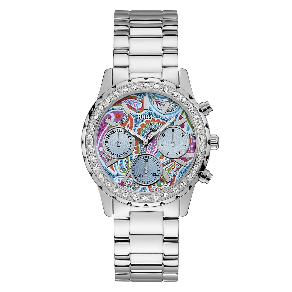 Relógio Feminino Guess Watches Pulseira de Aço Prata Fundo Azul
