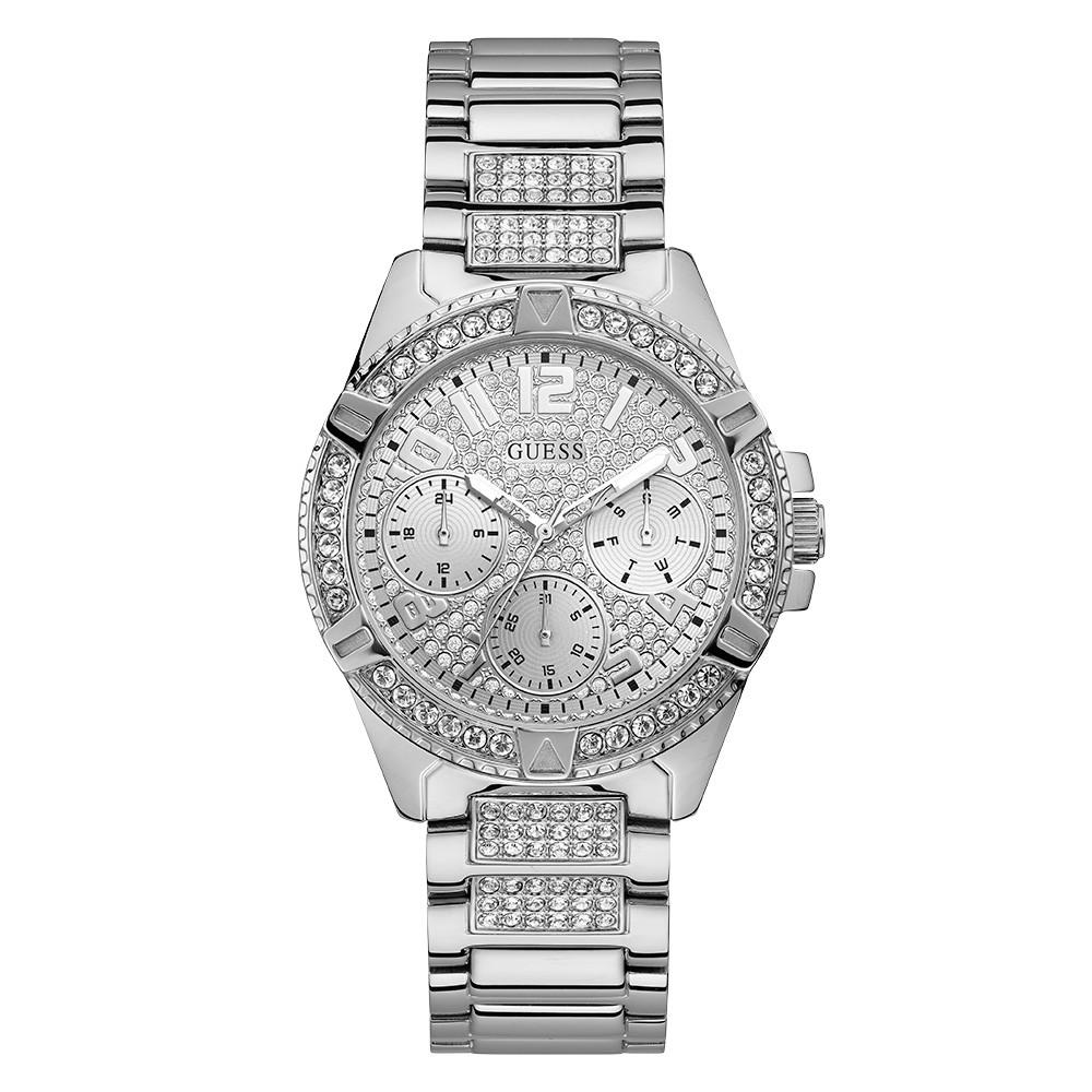 Relógio Feminino Guess Pulseira de Aço Prata Fundo Prata 92710L0GSNA1