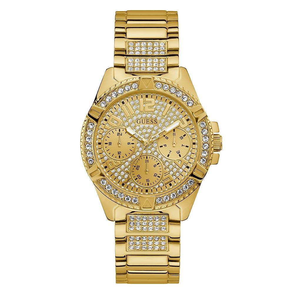 Relógio Feminino Guess Pulseira de Aço Dourado Fundo Champanhe 92710LPGSDA2