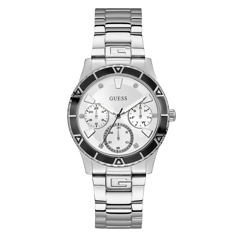 Relógio Feminino Guess Watches Pulseira de Aço Prata Fundo Branco