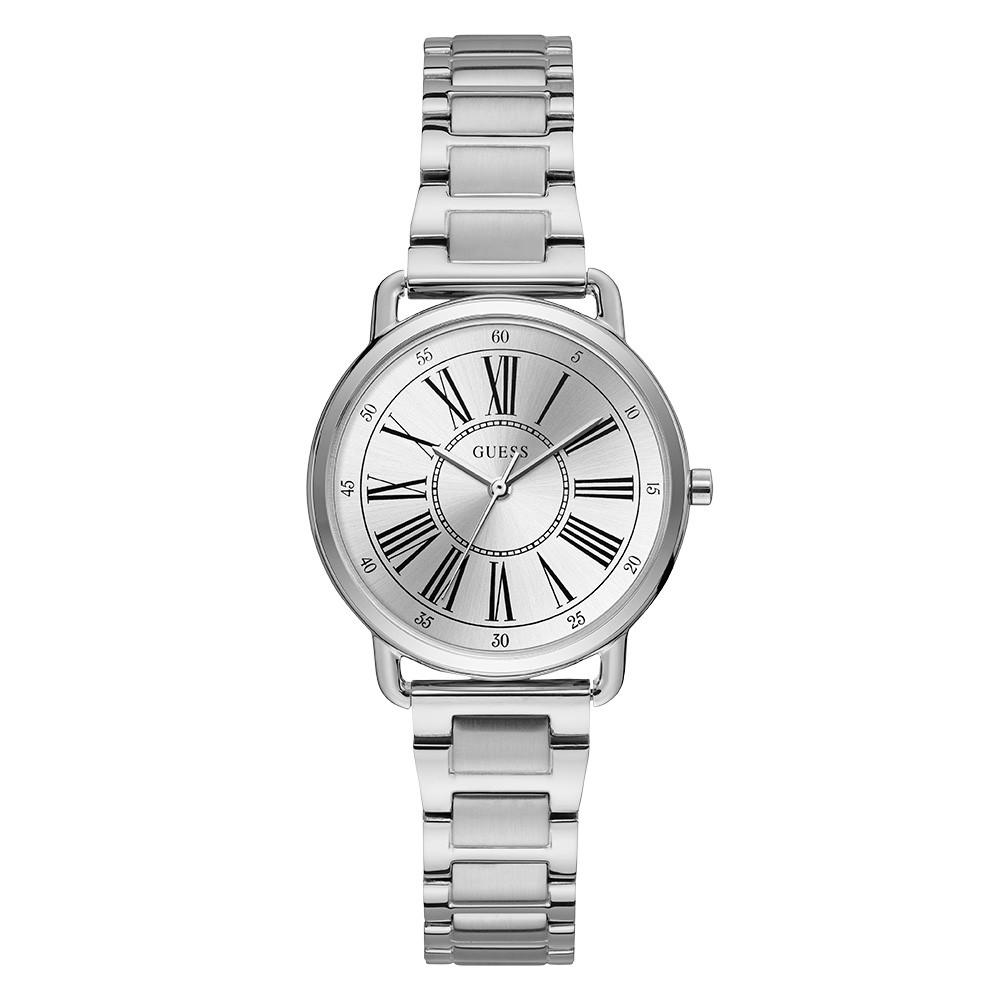 Relógio Feminino Guess Pulseira de Aço Prata Fundo Prata 92709L0GTNA1