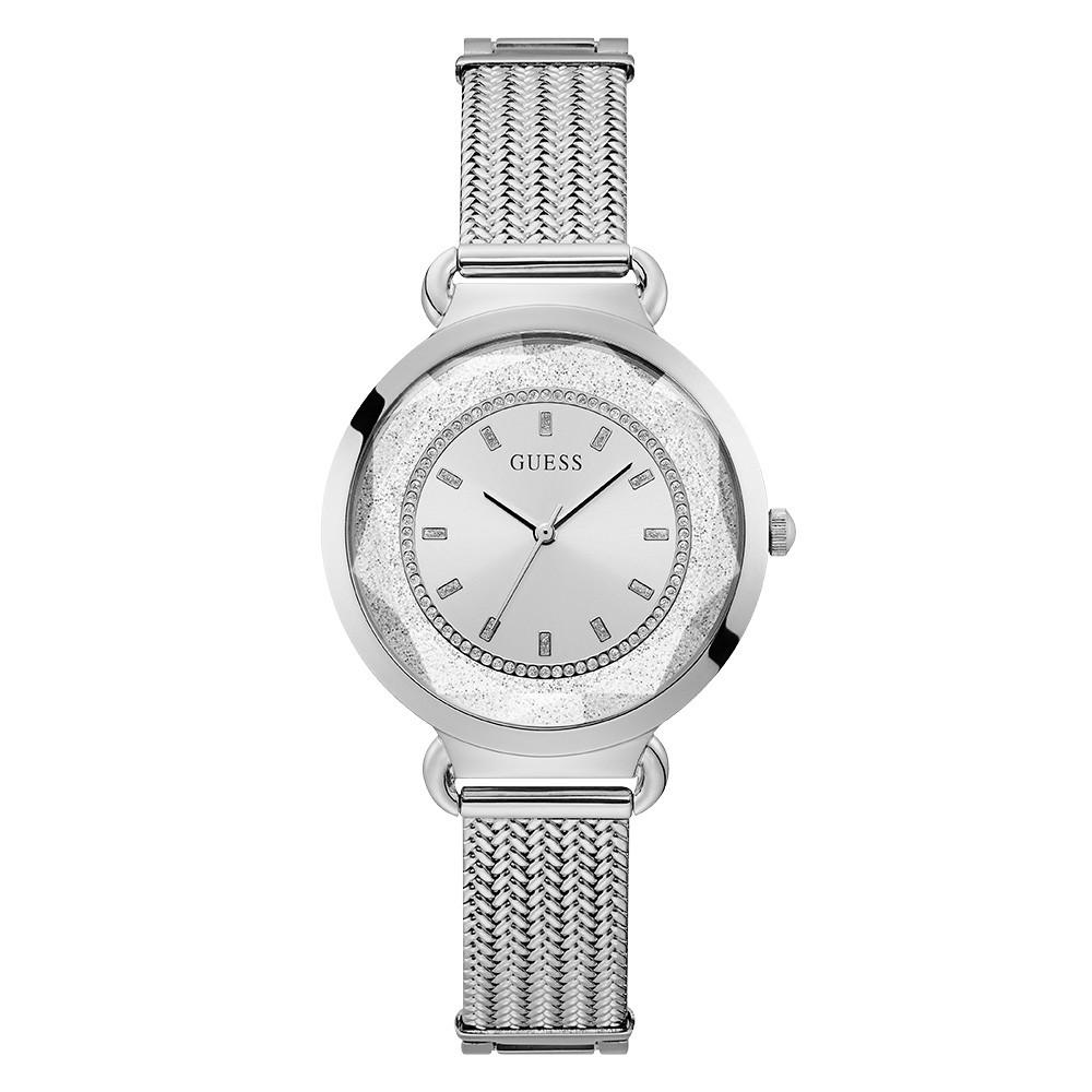 Relógio Feminino Guess Pulseira de Aço Prata Fundo Prata 92746L0GTNA1