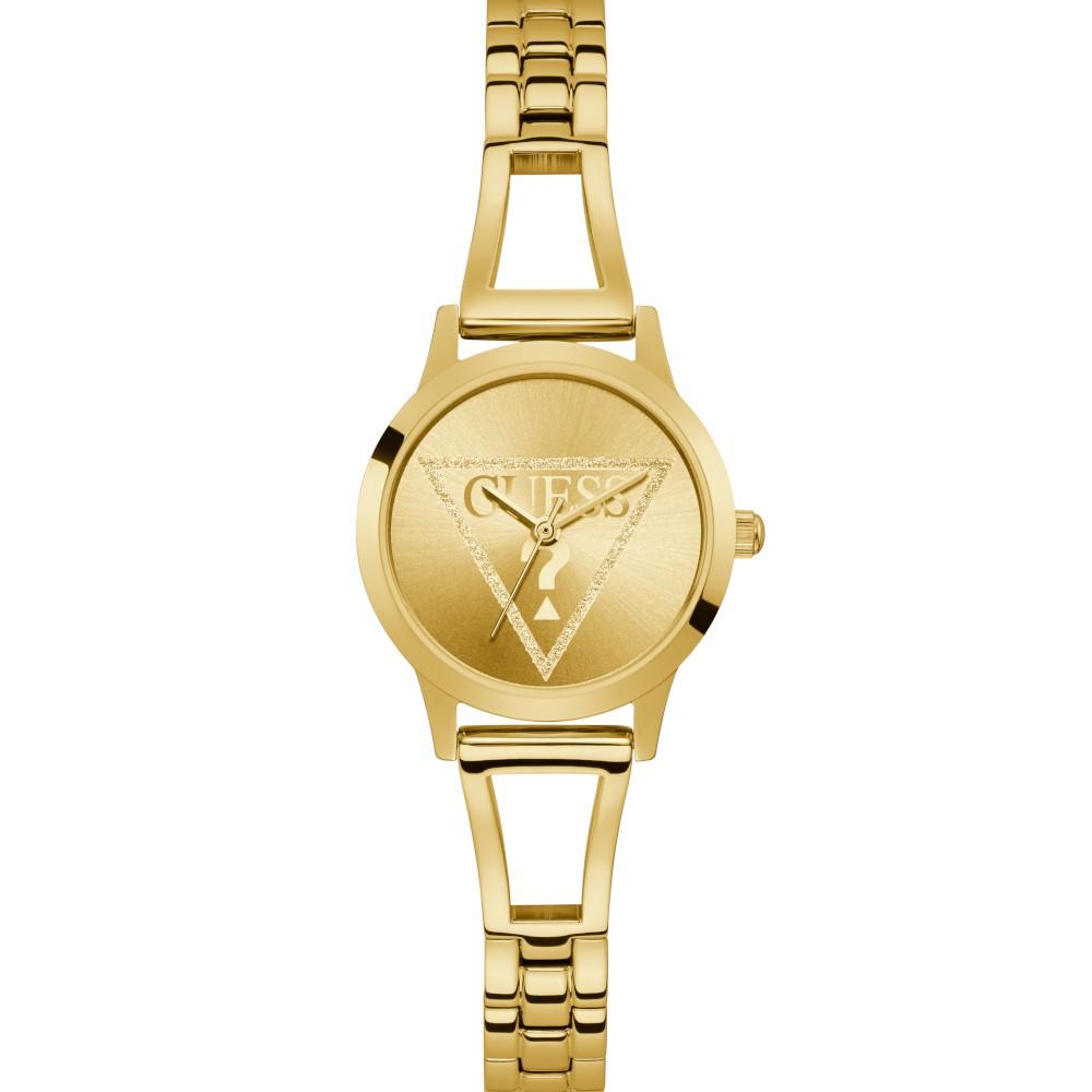 Relógio Feminino Guess Pulseira de Aço Dourado Fundo Champanhe GW0002L2