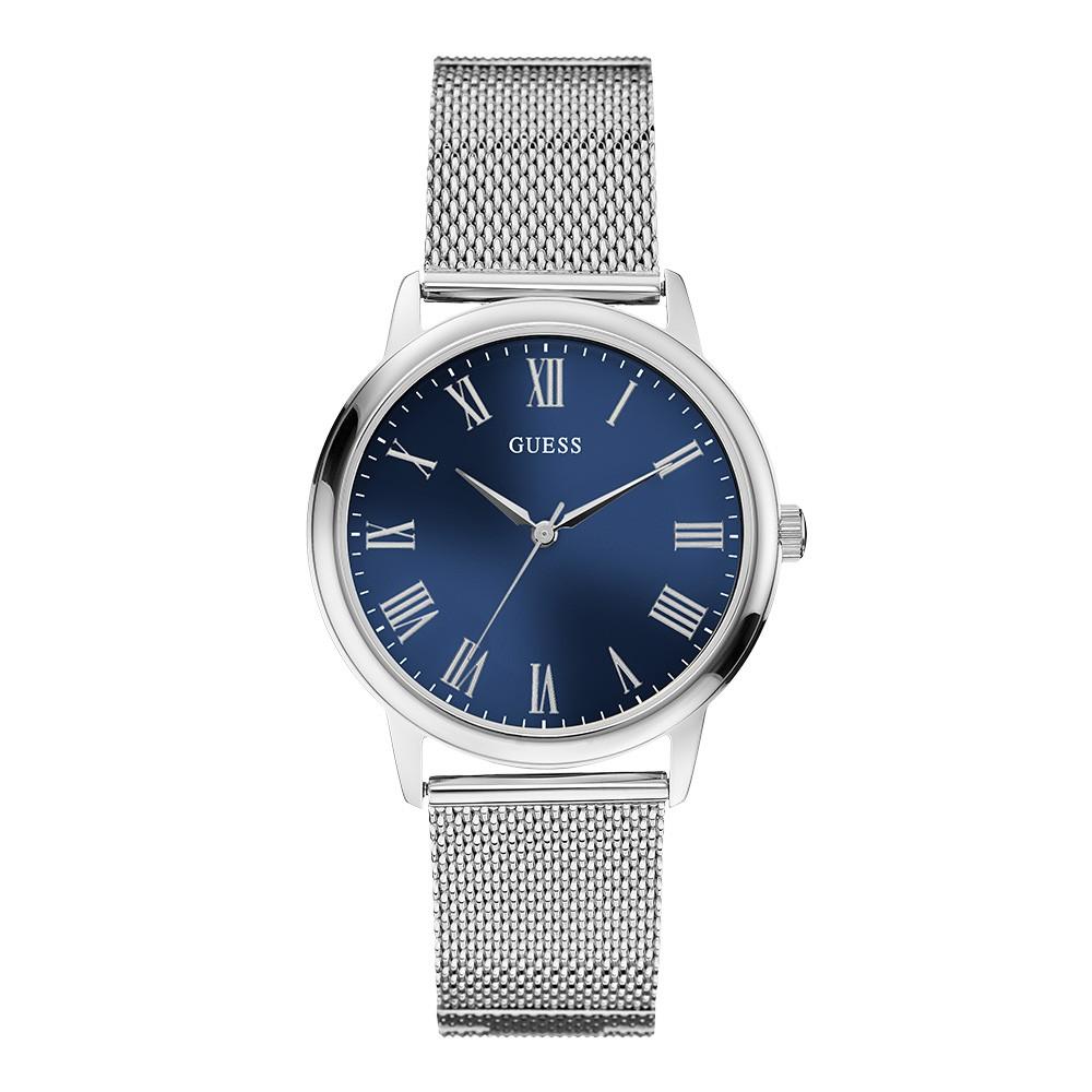 Relógio Feminino Guess Pulseira de Aço Prata Fundo Azul 92657L0GDNA2