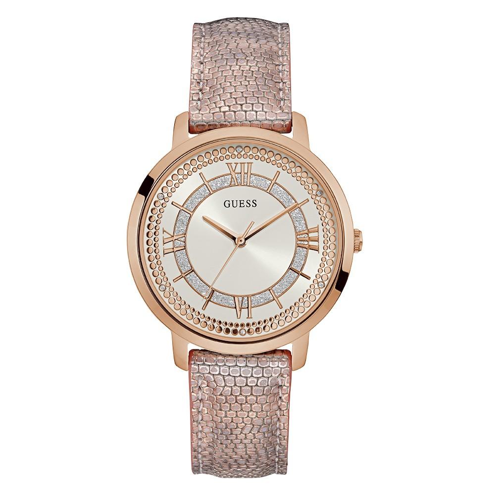 Relógio Feminino Guess Watches Pulseira de Couro Rosa Fundo Prata