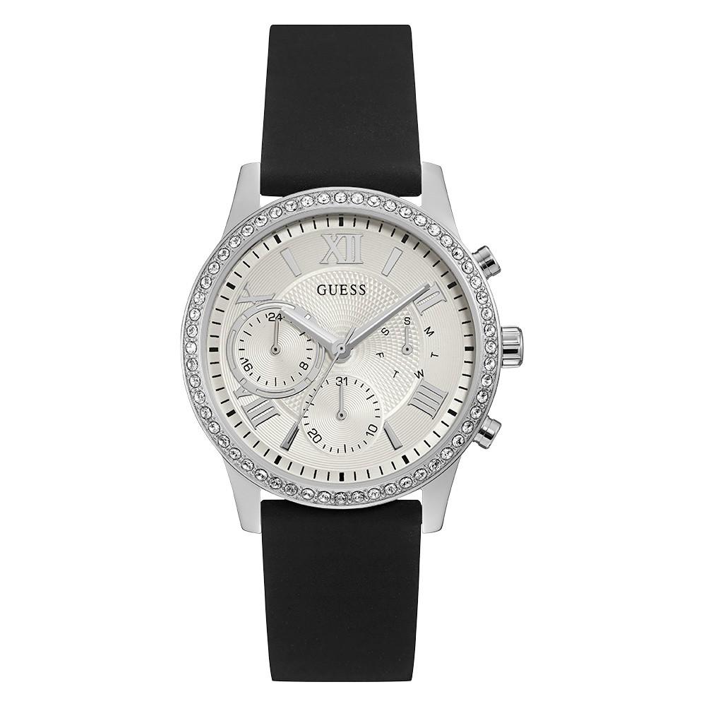 Relógio Feminino Guess Watches Pulseira de Esportivo Preto Fundo Branco