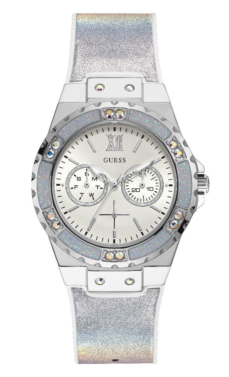 Relógio Feminino Guess Watches Pulseira de Couro Branco Fundo Prata