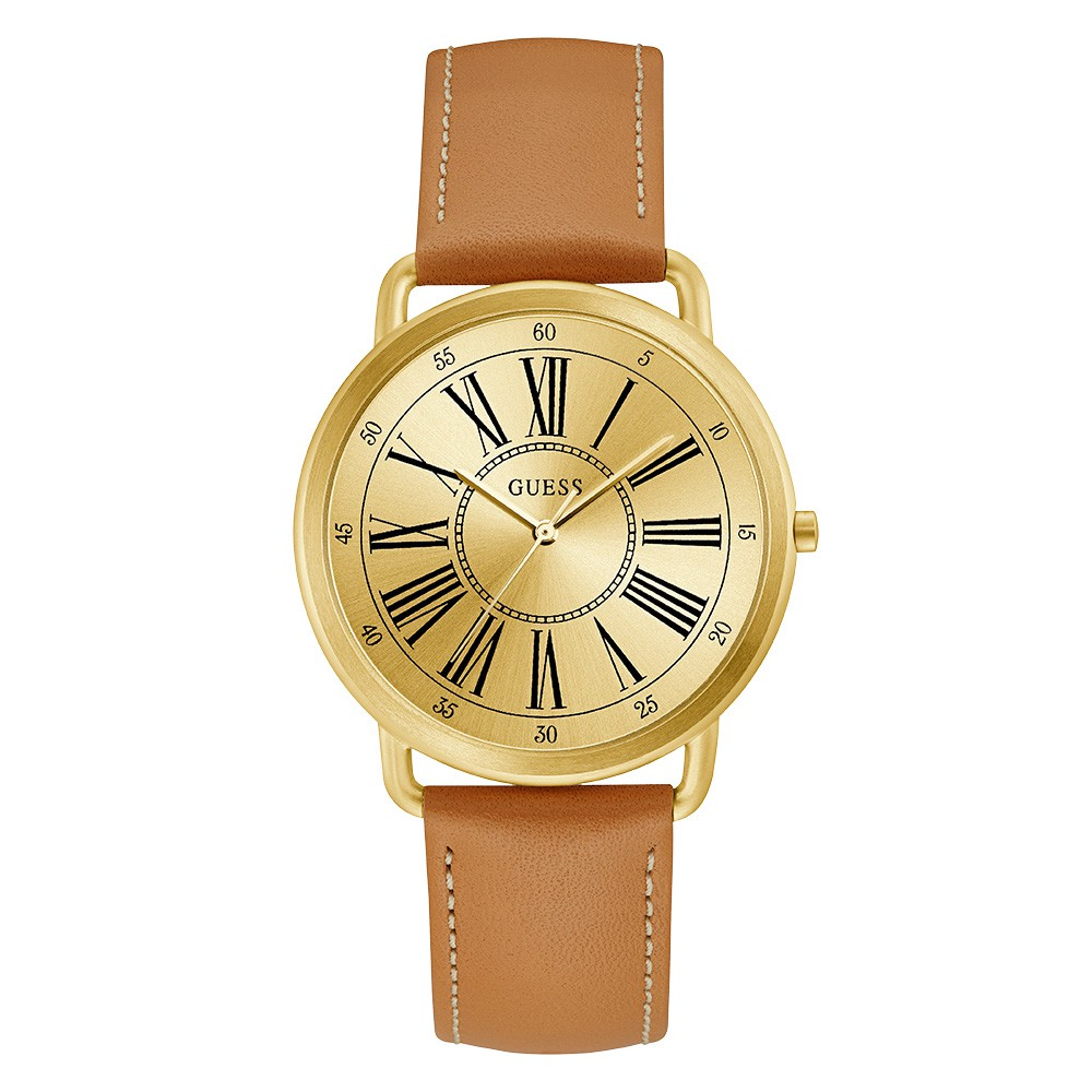 Relógio Feminino Guess Watches Pulseira de Couro Caramelo Fundo Champanhe