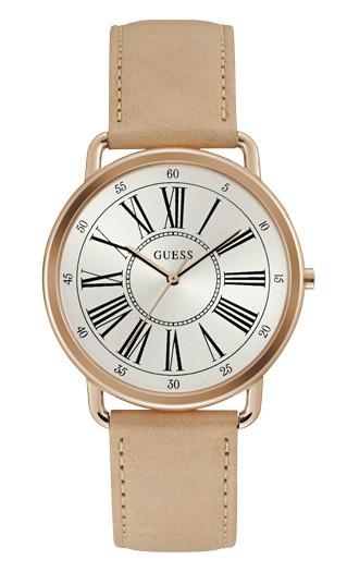 Relógio Feminino Guess Watches Pulseira de Couro Bege Fundo Branco
