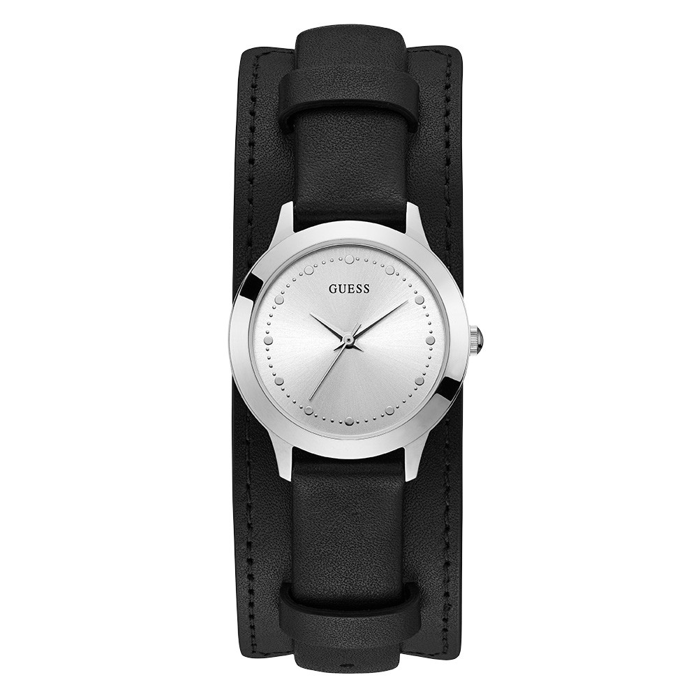 Relógio Feminino Guess Pulseira de Couro Preto Fundo Branco 92705L0GTNC2
