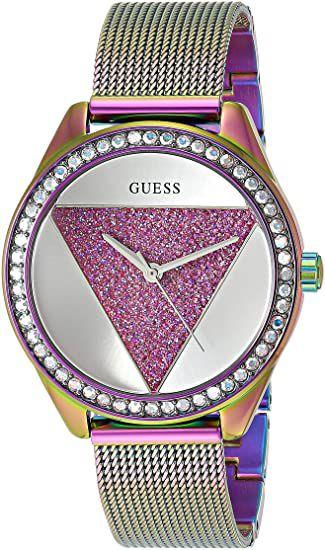 Relógio Feminino Guess Watches Pulseira de Aço Roxo Fundo Prata