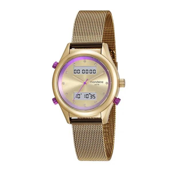 Kit Relógio Feminino Mondaine Pulseira de Aço Inoxidável Dourado Fundo Champanhe e Pulseira Berloque