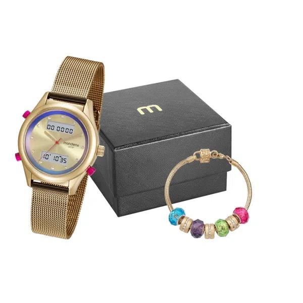 Relógio Feminino Mondaine Anadigi 99120LPMVDE7K1 c/ Pulseira Dourada