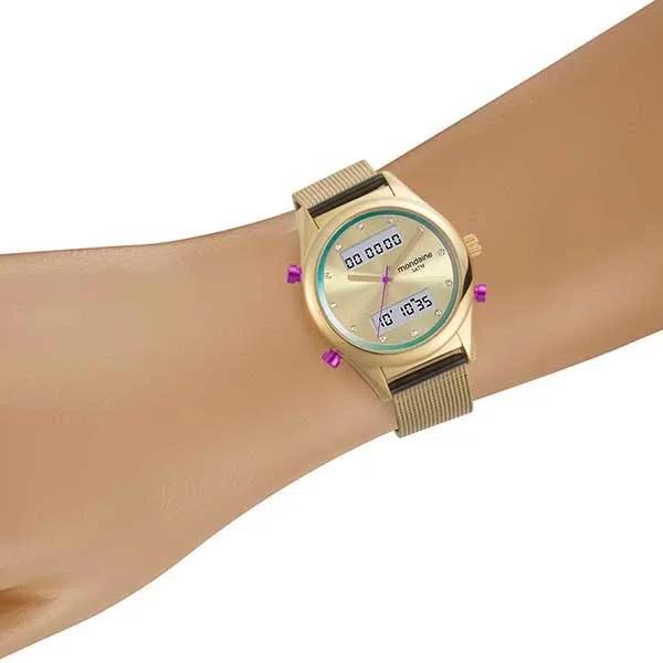 Kit Relógio Feminino Mondaine Anadigi 99120LPMVDE8K1 e Pulseira Dourada com Berloques